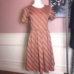 LulaRoe Gray/Orange/Yellow Print Dress